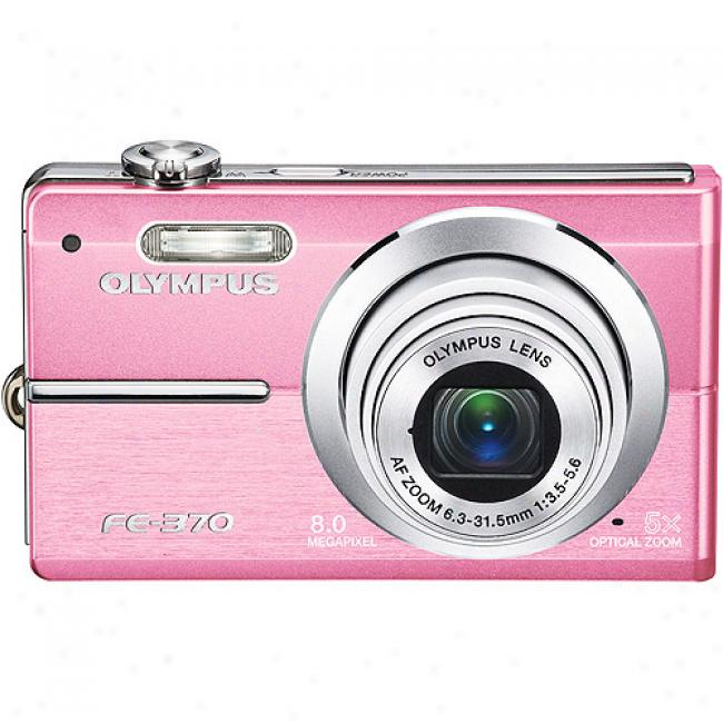 Olympus Fe-370 Pink 8mp Digital Camera, 5x Optical Zoom, 2.7