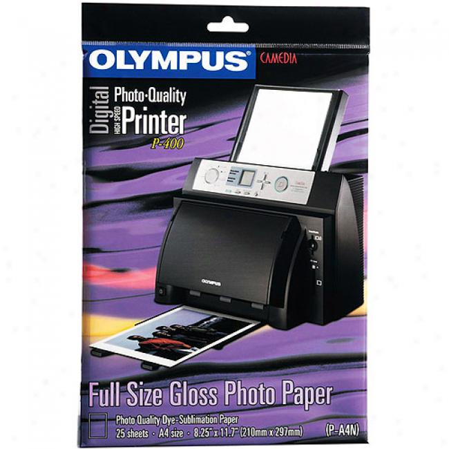 Olympus Postcard-size Glossy Photo Paper, 25 Sheets For P-400 Series Printers