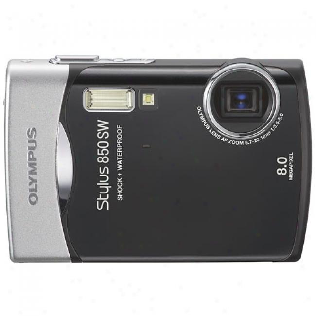 Olympus Stylus 850sw Black ~ 8.0 Mp Digital Camera, Waterproof And Shockproof W/ 3x Optical Zoom