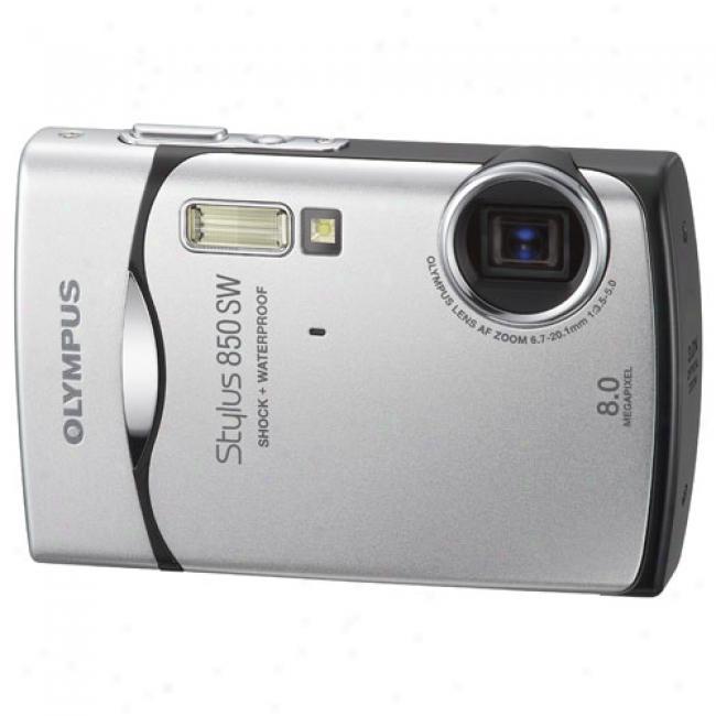 Olympus Stylus 850sw Silver 8.0 Mp Digital Camera, Waterproof And Shockproof W/ 3x Optical Zoom