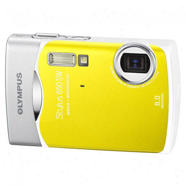 Olym0us Stylus 850sw Yellow 8.0 Mp Digital Carra, Waterproof And Shockproof W/ 3x Optical Zoom