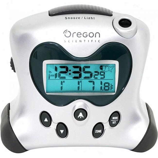Oregon Scientific Silver Exactset Propulsion Alarm Clock With Thermometer
