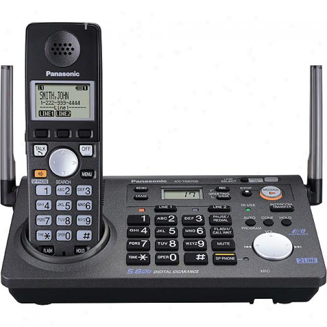 Panasonic 5.8ghz Cordless 2-line Phone/answering System W/ 2 Handsets, Kx-tg6702b