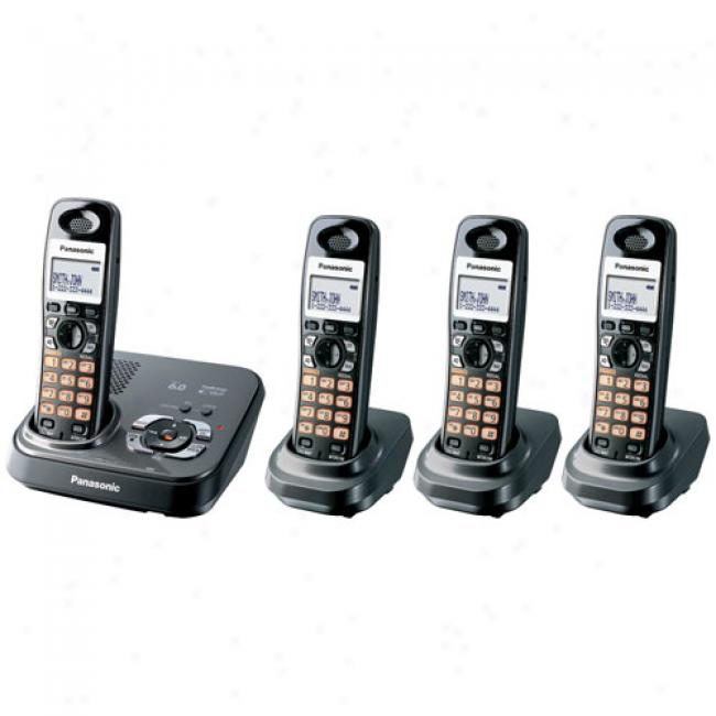 Panasonic Kx-tg9334t Dect 6.0 Digital Cordless Phone W/ 4 Handsets