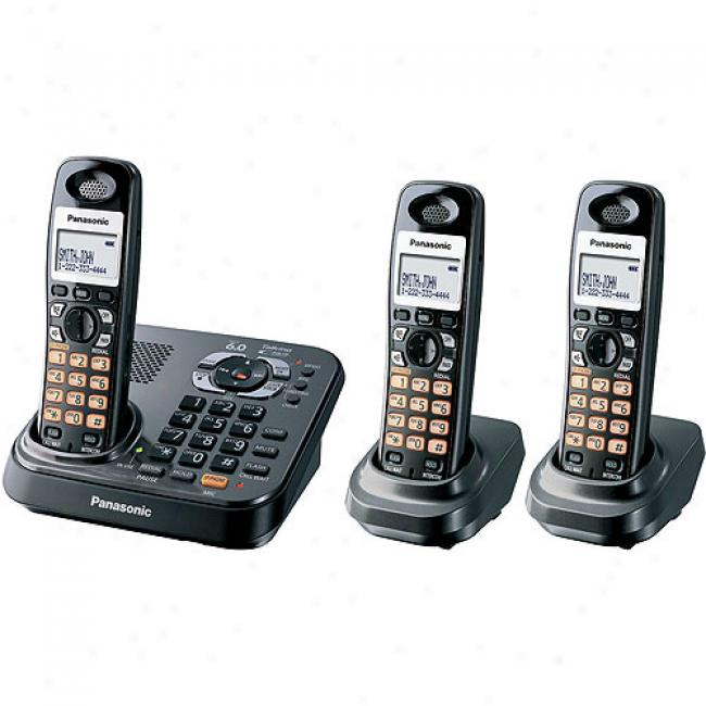 Panasonic Kx-tg9343t Dect 6.0 Digital Cordless Answering System With 3 Handsets And Dual Keypad