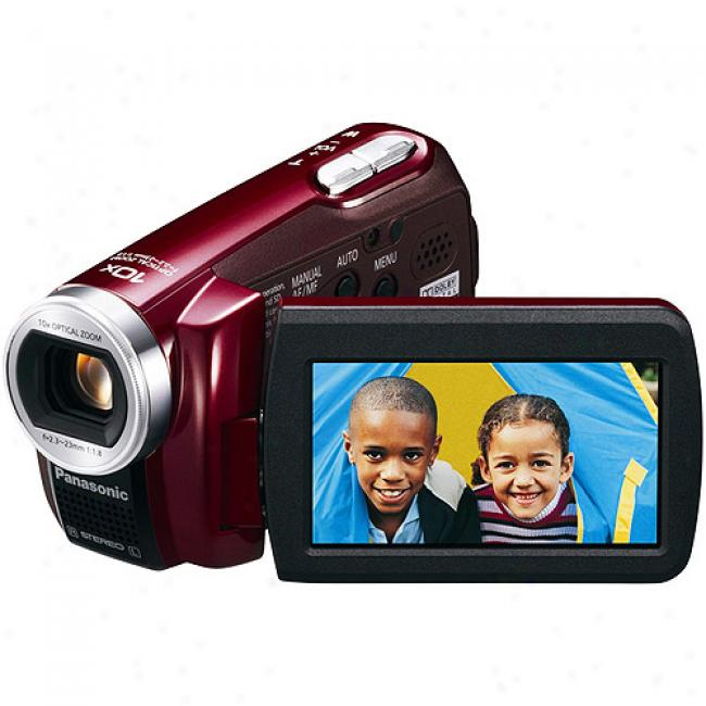 Panasonic Sdr-s7 Red Flash Memory Sd Camcorder, Shock-resistant, 10x Optical Zoom, 2.7
