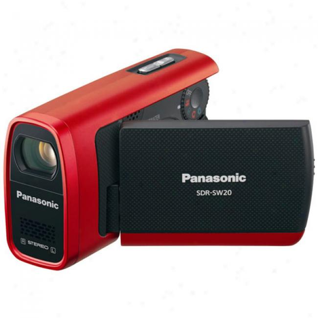 Panasonic Sdr-sw20 Red Flash Camcorder W/ 10x Zoom