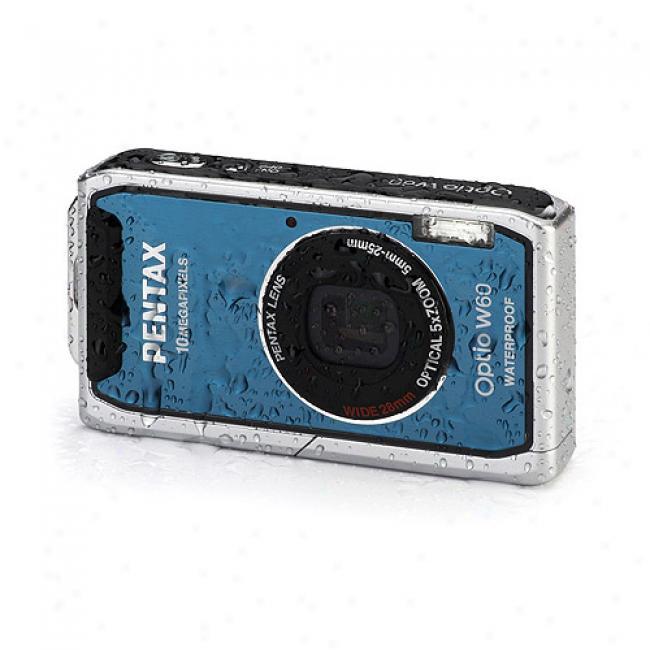 Pentax Optio W60 Blue 10mp Digital Camera, 5x Optical Zoom, Waterprof & Freezeproof