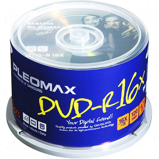 Pleomax By Samsung 16x Write-once Dvd-r With White Ink Jet Hub Printable Surface - 50 Disc Spindle