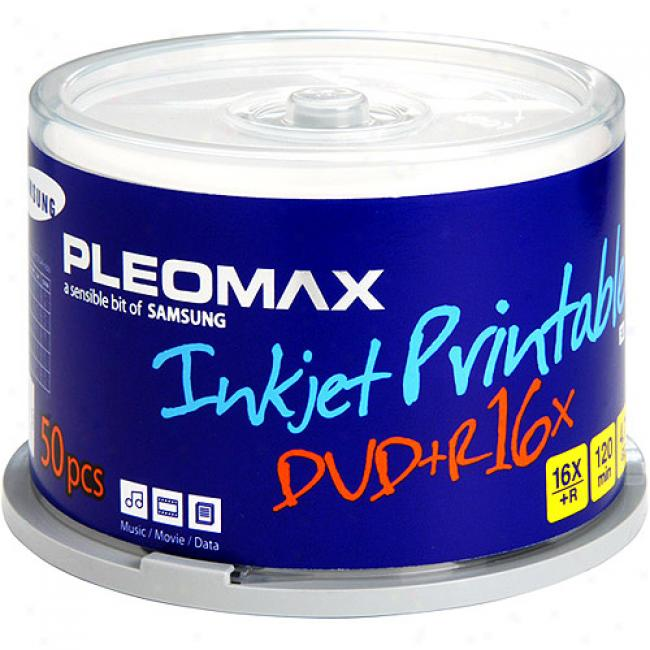 Pleomax By Samsung 16x Write-once Dvd+r With White Ink Jet Printabke Surface - 50 Disc Spindle