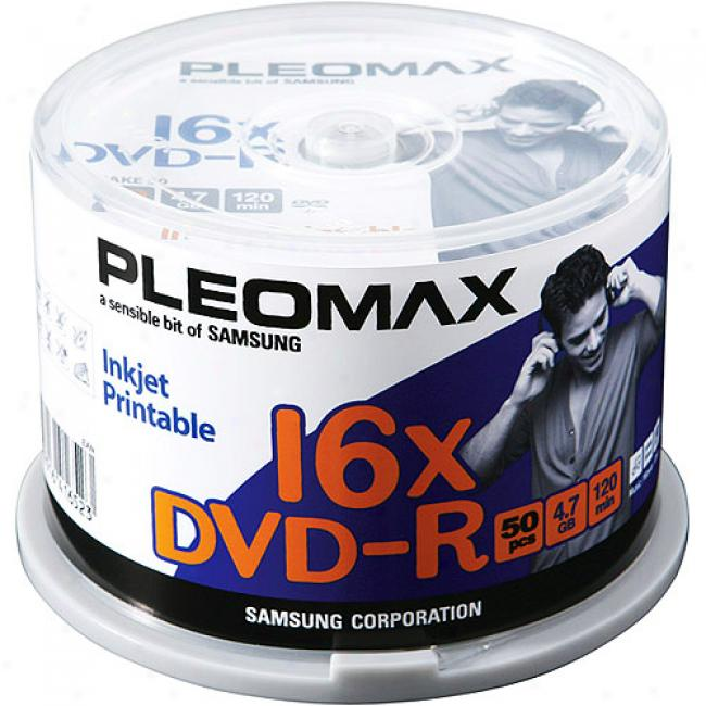 Pleomax By Samsung 16x Write-once Dvd-r With White Thermal Printable Superficies - 50 Disc Spindle