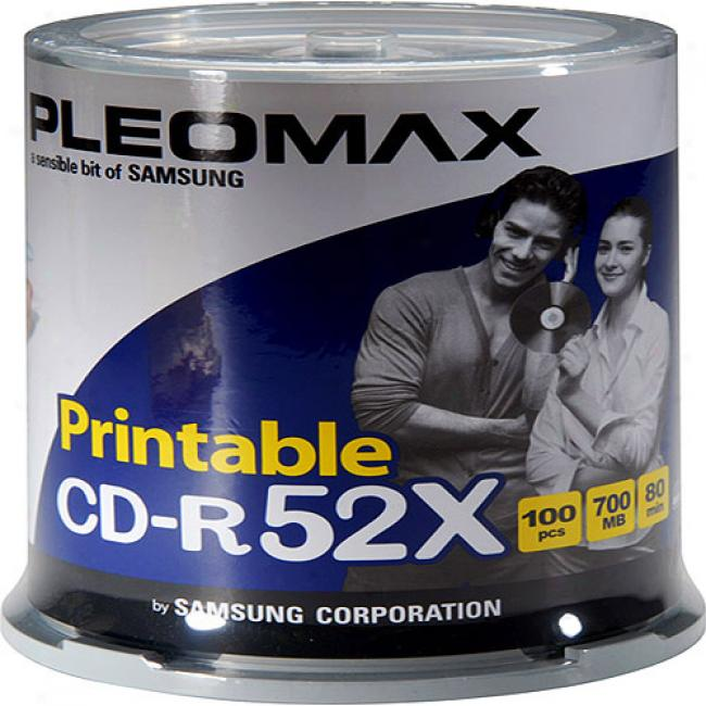 Pleomax By Samsung 52x Write-once Cd-r Spindle With Ink Jdt Printable Surfacs - 100 Disc Axis