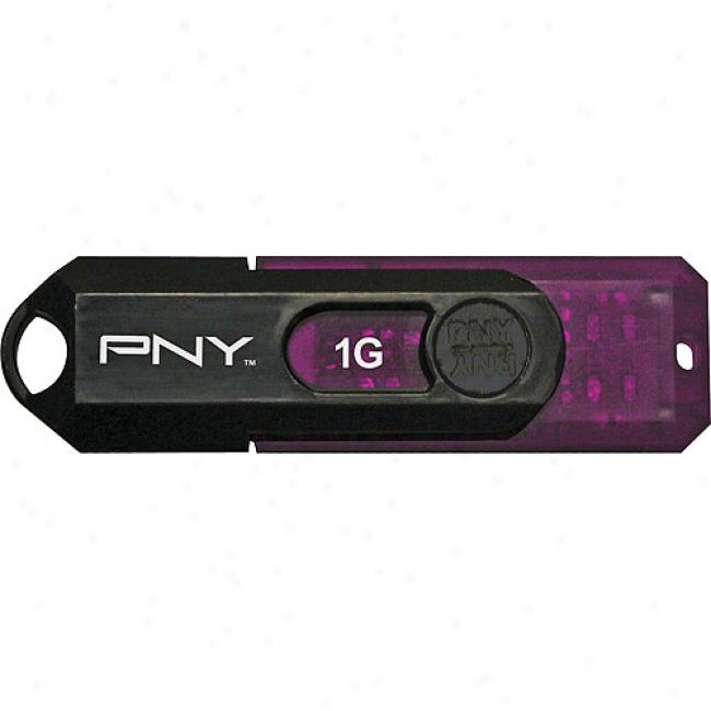 Pny 1gb Mini Attache Usb Flash Drive, Black & Purple