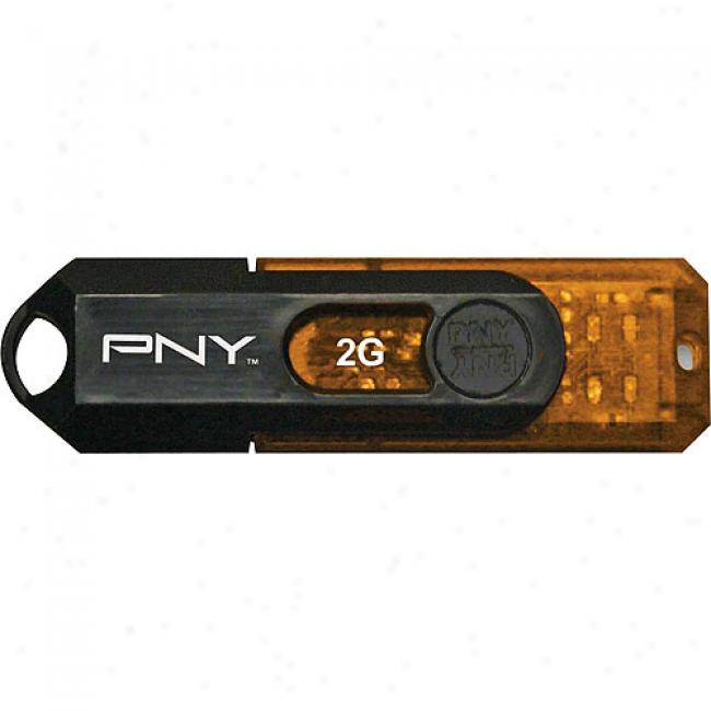 Pny 2gb Mini Attache Usb FlashD rive, Black & Orange