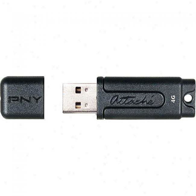 Pny Technologies 4gb Atfache Usb Flash Drive, Black