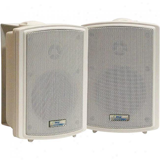 Pyle 2-way Weatherproof Outdoor Speakers W/ 3.5'' Woofers, White, Pair