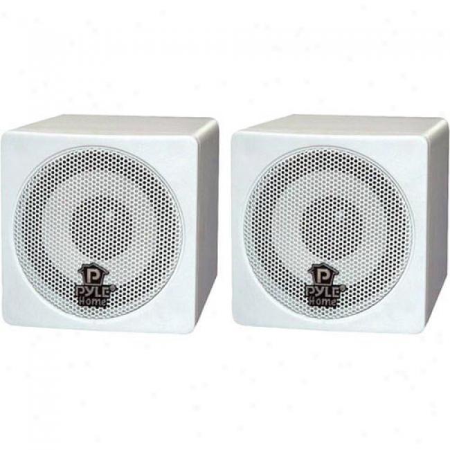 Pyle 3'' 100-watt Mini Cube Speaker - White, Pair