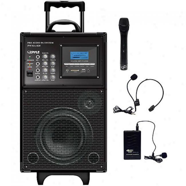 Pyl3 Battery Powered Pa System With Mp3 Player And Wireless Microphone