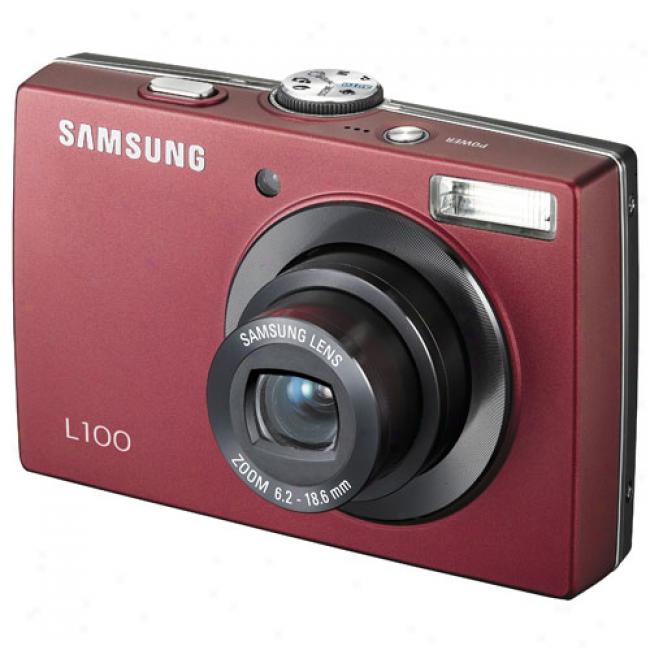 Samsung L100 Red ~ 8 Mp Digital Camera W/ 3x Optical Zoom
