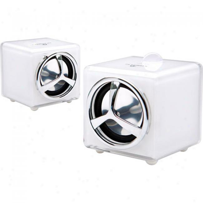 Samsung Pleomax Mini Usb Speakers, White