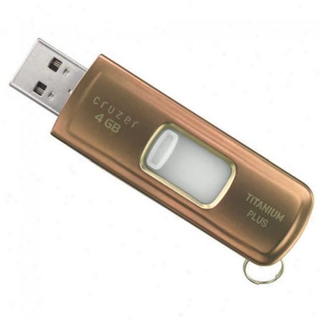 Sandisk 4gb Cruzer Titanium More Usb Flash Drive, Gold