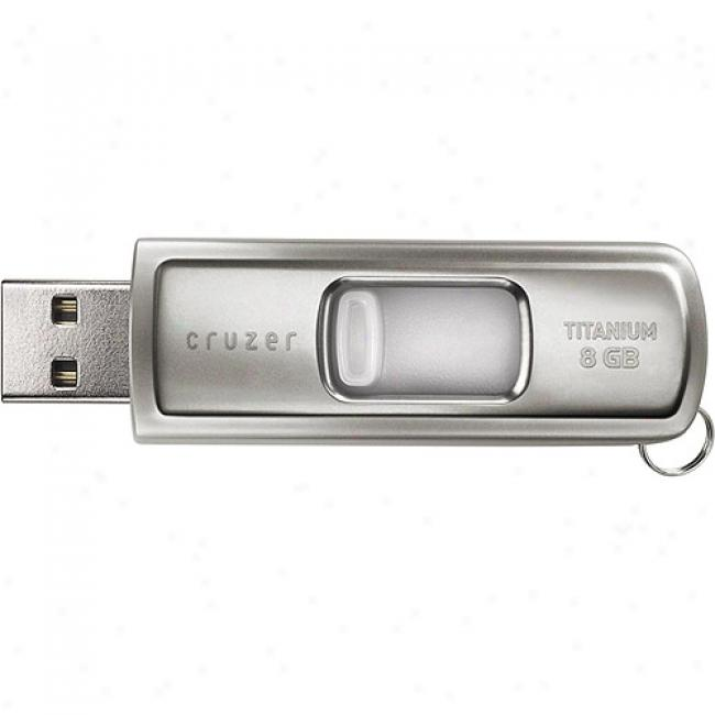 Sandisk 8gb Cruzer Titanium Usb Flash Drive, Silver