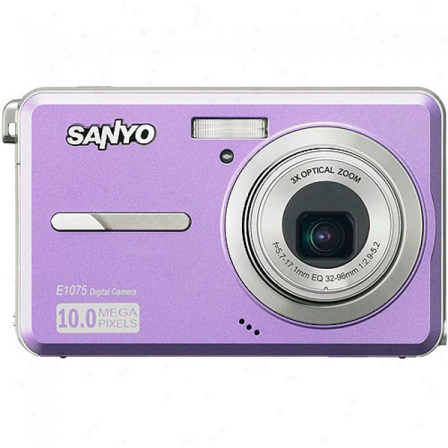 Sqnyo Xacti Vpc-e1075 Purple ~ 10mp Digital Camera With 3x Optical Zoom 2.7