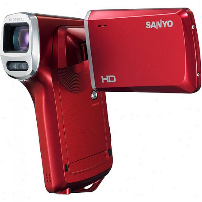 Sanyo Xacti Vpc-hd100 Red ~ High-definition Camcorder W/ 5x Optical Zoom & 2.5