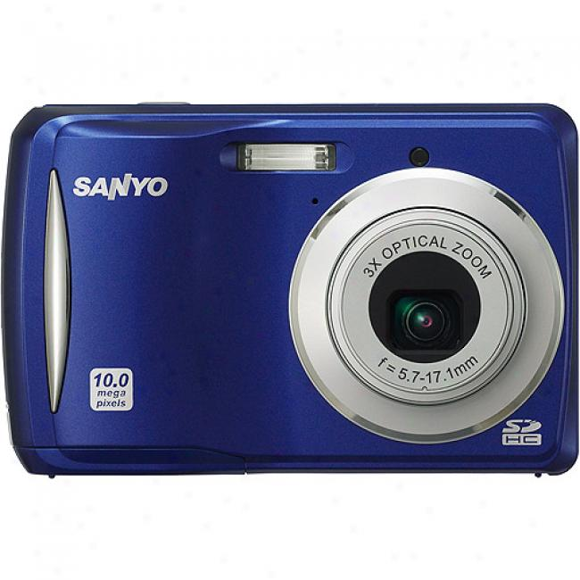 Sanyo Xacti Vpc-s1080 Blue ~ 10mp Digital Camera With 3x Optical Zoom 2.8