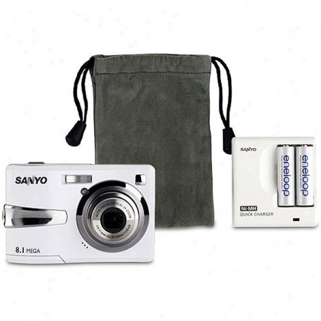 Sanyo Xacti Vpcc-s870 White 8.1 Mp Digital Camera Bundle Includes (2) Eneloop Nimh Rechargeable Batteries, Wall Charger And Soft Bag