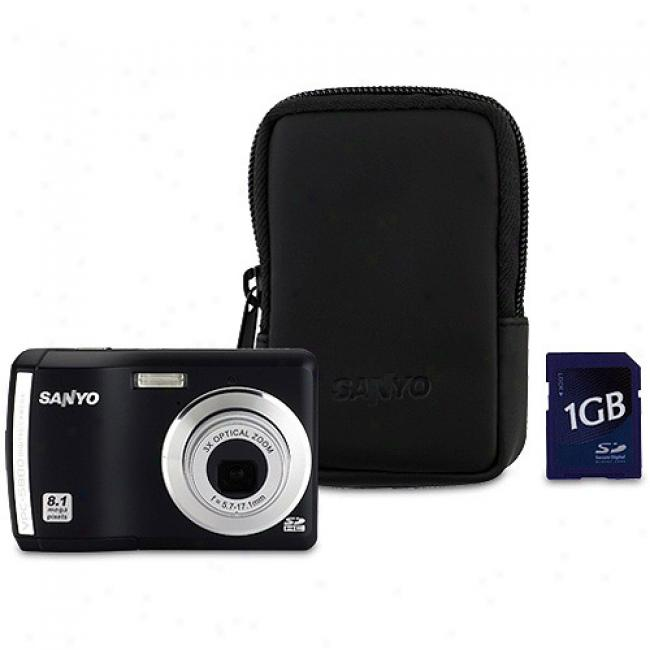 Sanyo Xacti Vpc-s880 Black 8.1 Mp Digital Camera W/ 3x Optical Zoom Includes Premium 1 Gb Memory Card And Case