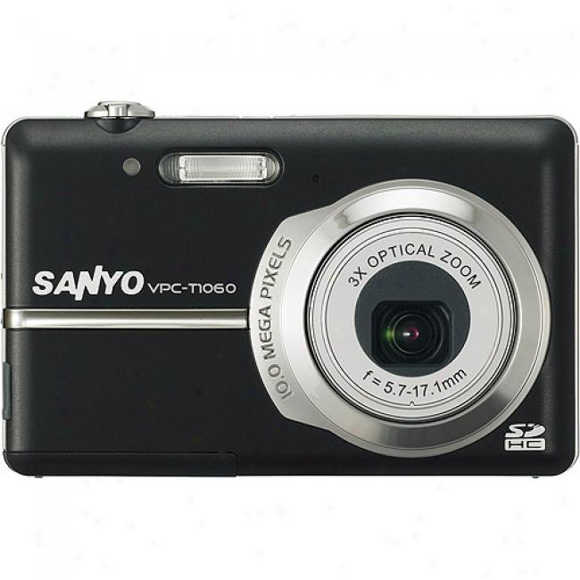 Sanyo Xacti Vpc-t1060 Black ~ 10mp Digktal Camera W/ 3x Optical Zoom 2.8