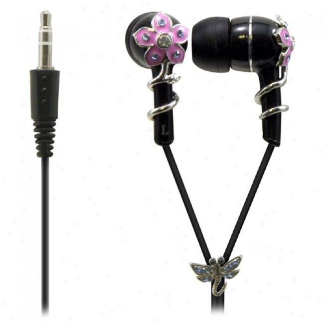 Sentry Jewel Earbud Headphones, Black Enamel Flower