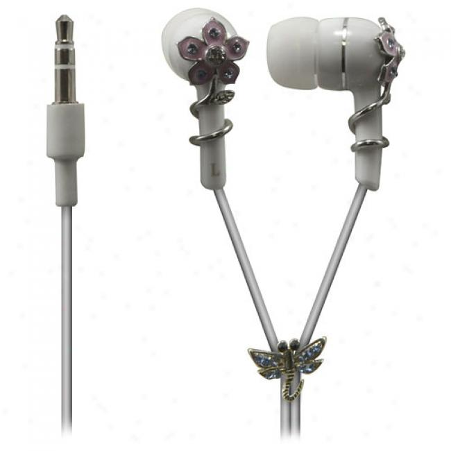 Sentry Jewel Ewrbud Headphones, White Enamel Flower