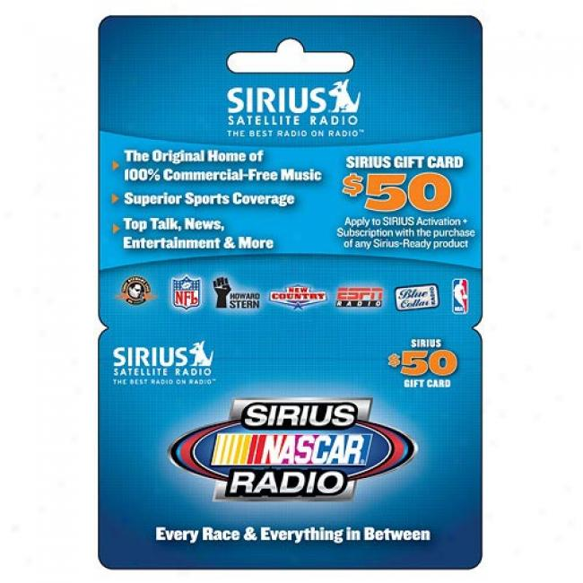 Sirius Satellite Radio $50 Prepaid Card