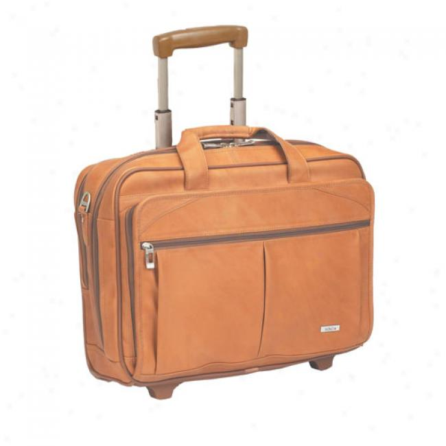 Solo Rolling Leather Laptop Computer Case, Tan