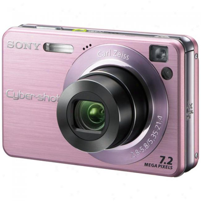 Sony Cyber-shot Dsc-w120 Pink ~ 7.2 Mp Digital Camera W/ 4x Optical Zoom & Image Stabilization