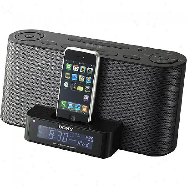 Sony Icf-c1ipmk2blk Speaker Dock/clock Radio For Ipod Music Player - Black