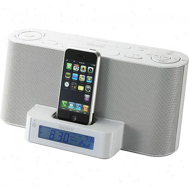 Sony Icf-c1ipmk2wht Speaker Dock/clock Radio For Ipod Music Player - White