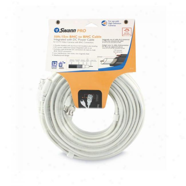 Swann Rg59 Coaxial Cable With Integrated Dc Power Cable, 50'
