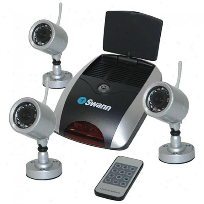 Swann Wireless Security System With 3 Nighthawk Cmeras And Receiver