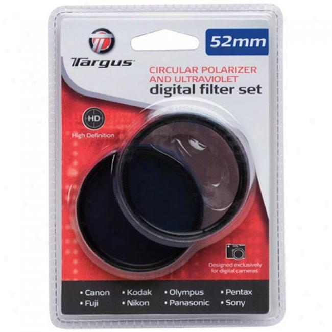 Targus 52mm Circular, Polarizer And Ultrraviolet Digital Filter Set, Tg-52c