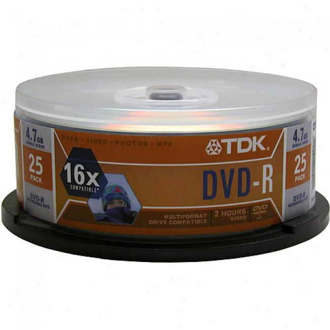 Tdk 16x Dvd-r Discs, 25-pack