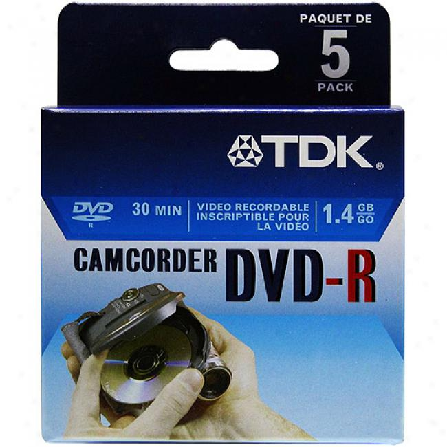 Tdk 8cm Write-once Dvd-r Discs For Camcorders, 5-pack
