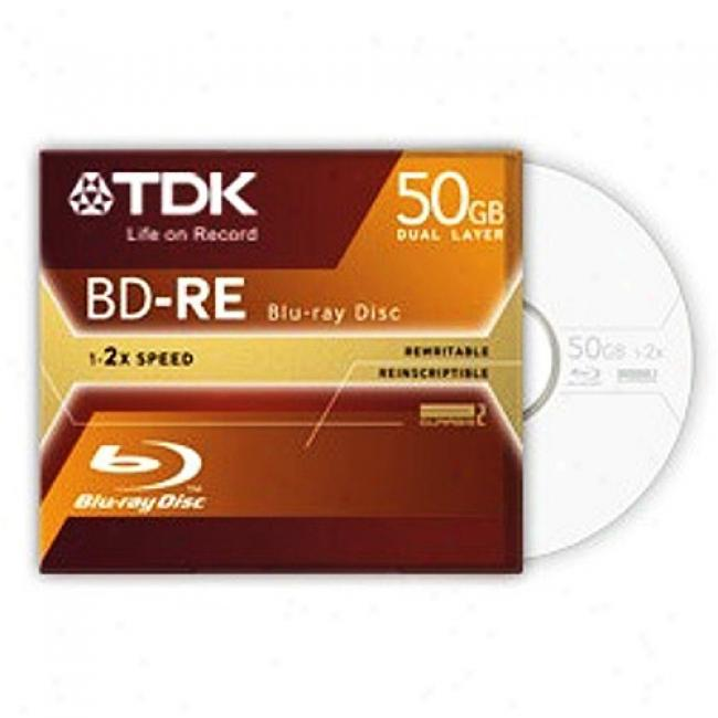 Tdk Bd-re Rewritable Dual Layer Blu-ray Disc, Single