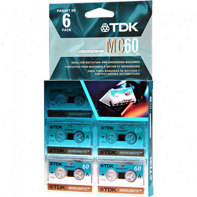 Tdk Mc-60 Microcassette Tapes, 6-pack