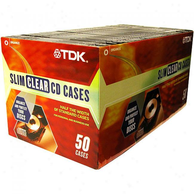 Tdk Slim Cd Jewel Cases, 50-pack
