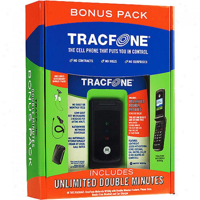 Tracfone Moto W260 Bundled W/ Double Minutes For The Life Of Your Phone (a $50 Value)