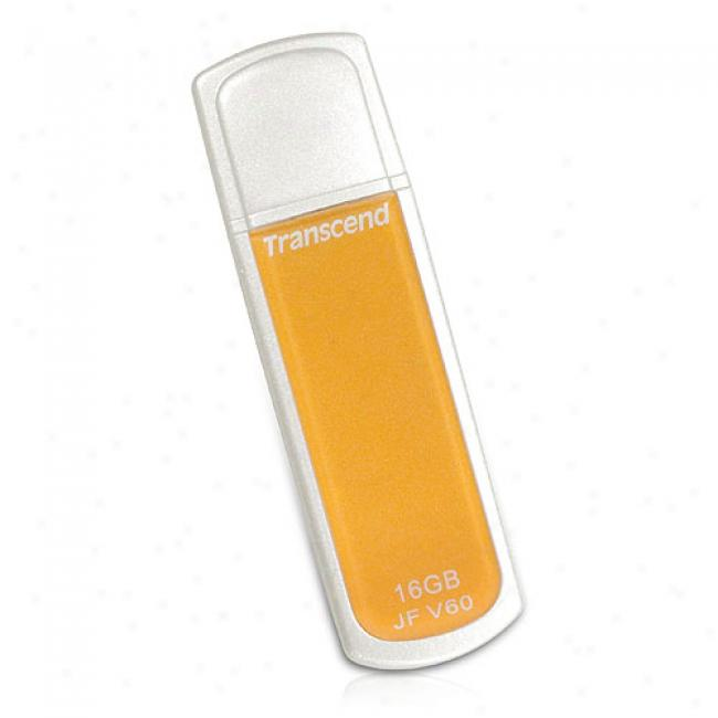 Transcend 16gb Jetflash V60 Usb 2.0 Instant Drive, White & Yellow