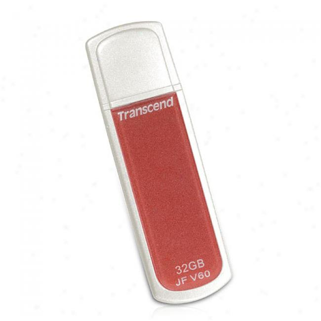 Transcend 32gb Jetflash V60 Usb 2.0 Flash Drive, Red